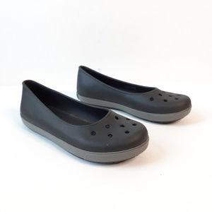 {Crocs} Black Ballet Flats Size 9